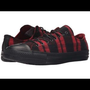 Red and Black Plaid/Tartan Converse Low Tops